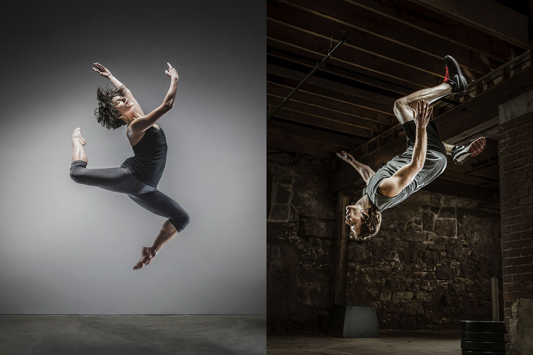 Split screen image of a woman dancing and a man doing a flip. | John Fedele Lifestyle Photography