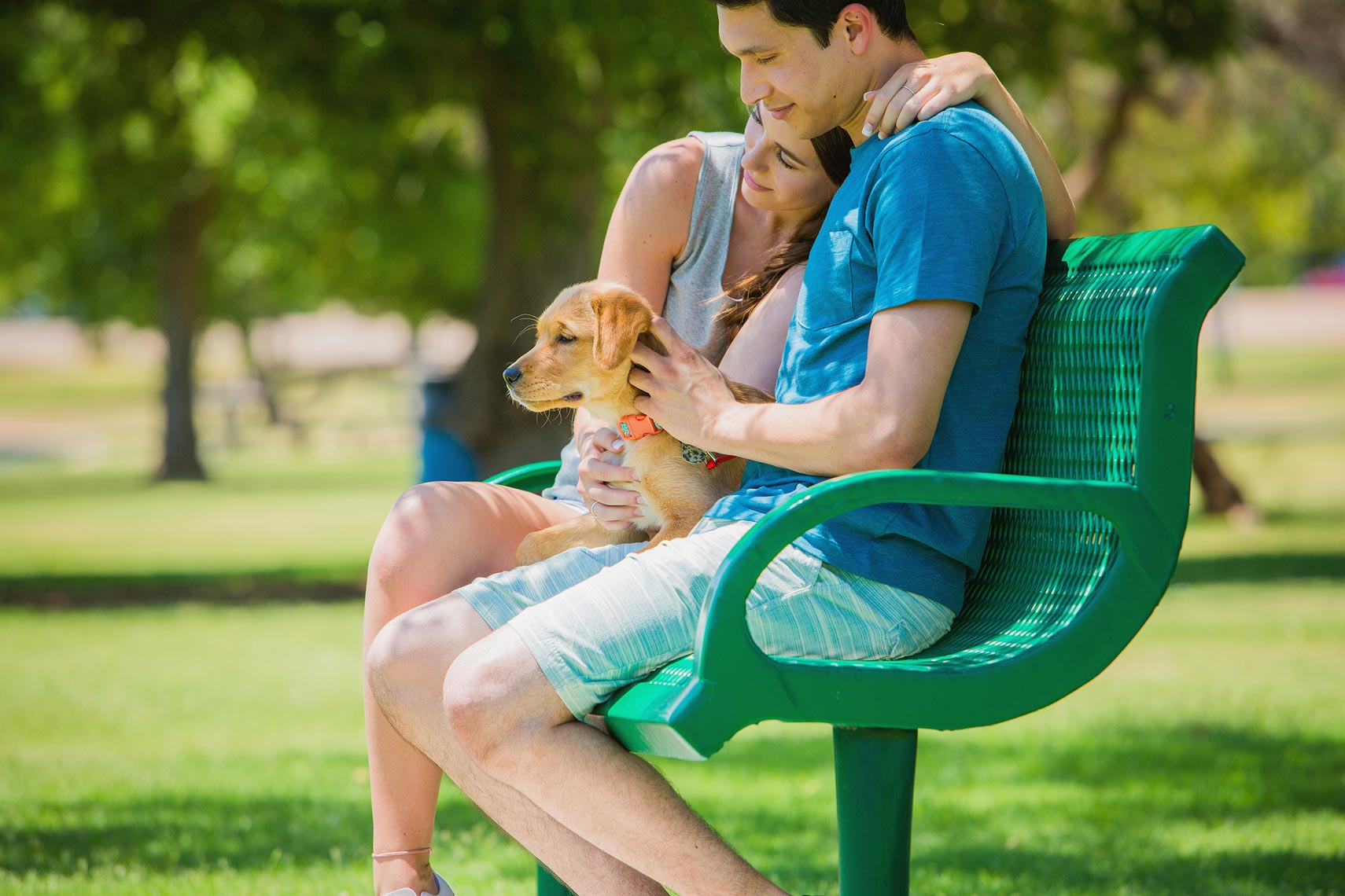 Couple sitting on a park bench with their dog | OneAZ | John Fedele Lifestyle Photography