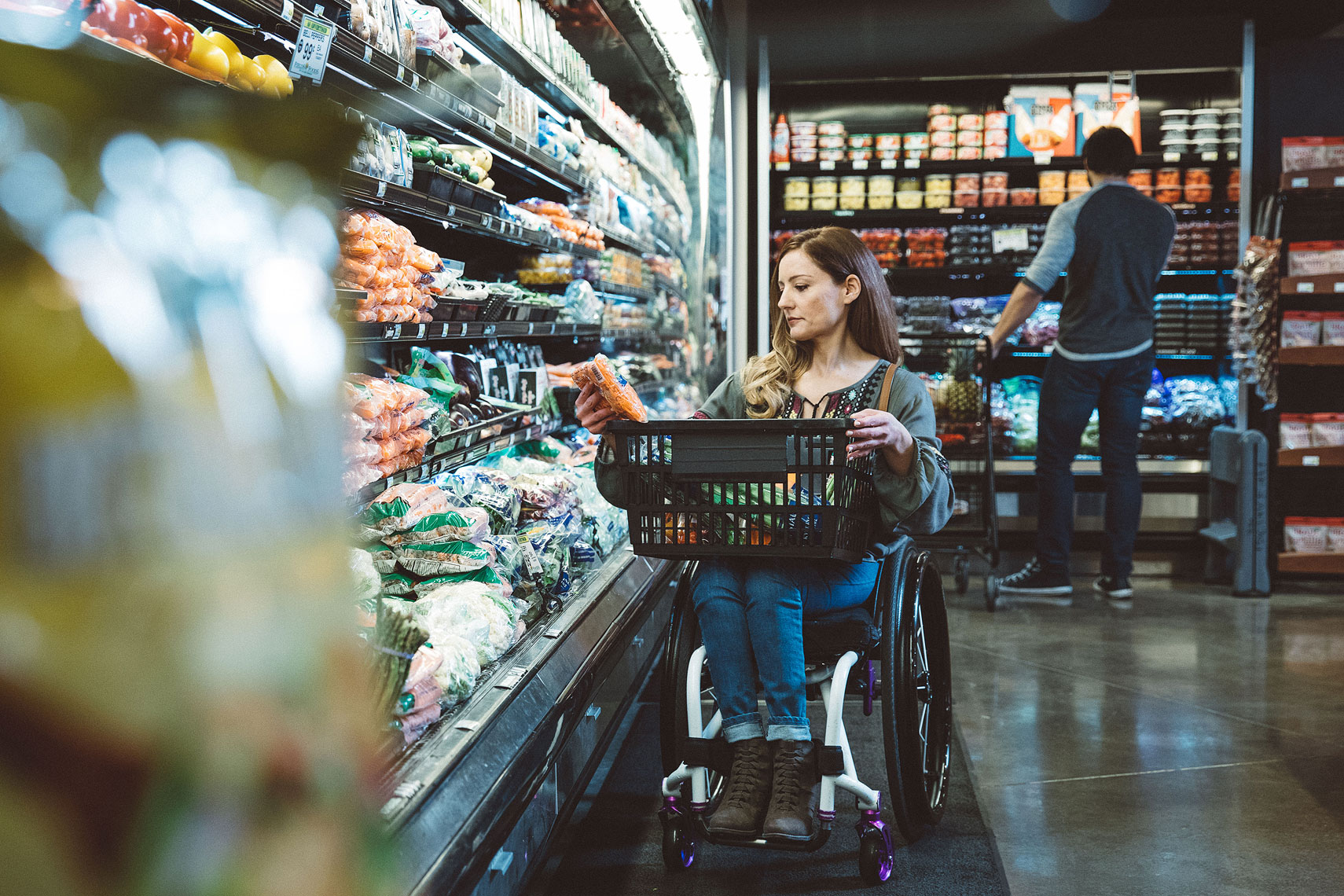 Woman in a wheelchair grocery shopping |  Centene | John Fedele Lifestyle Photography