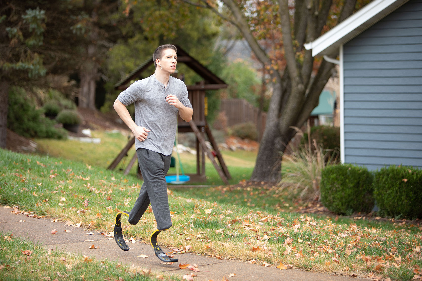 Man jogging with prothetetic legs |  Centene | John Fedele Lifestyle Photography