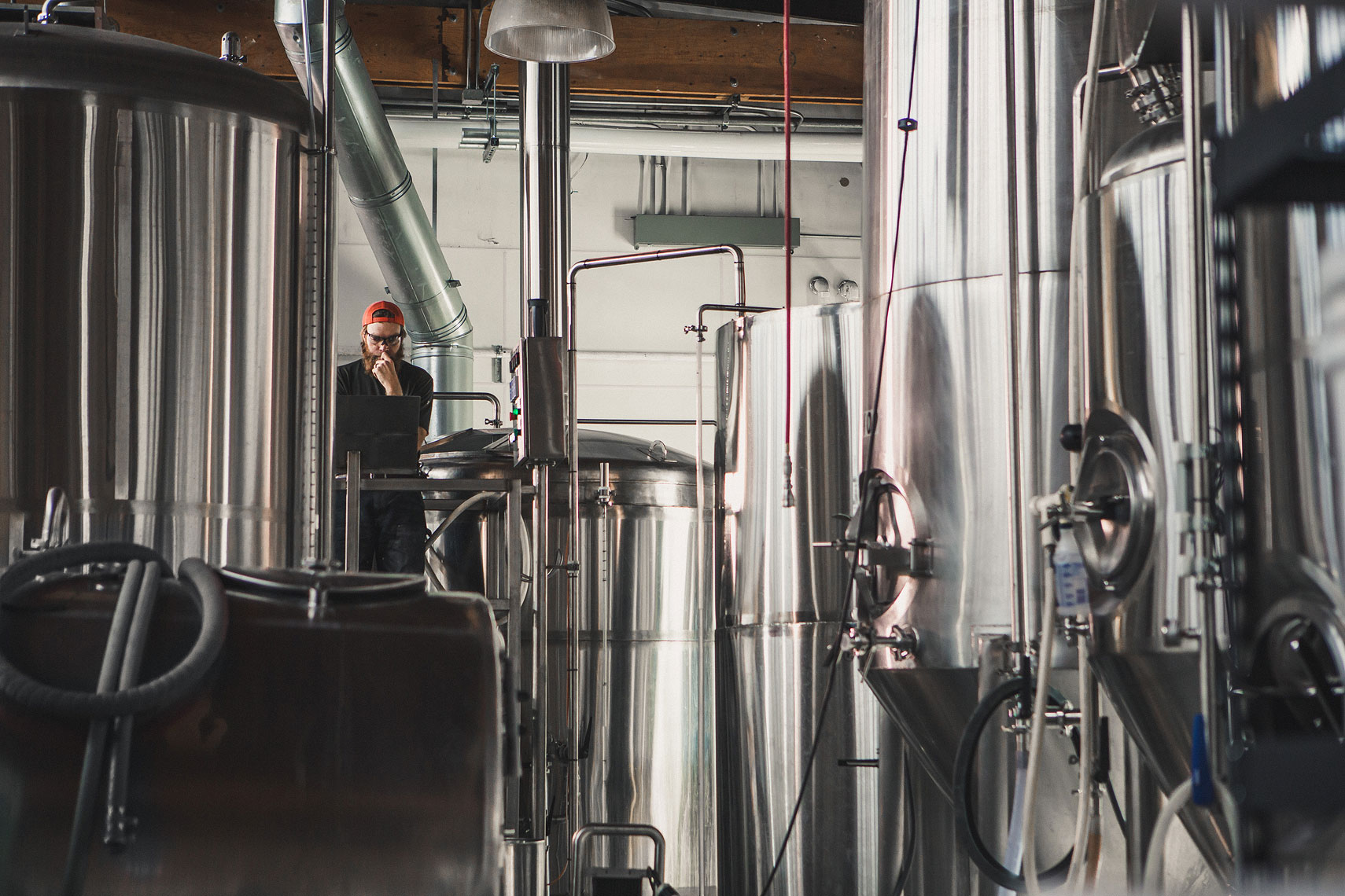 Brewer overseeing the fermentation process | Side Project Brewery | John Fedele Photography