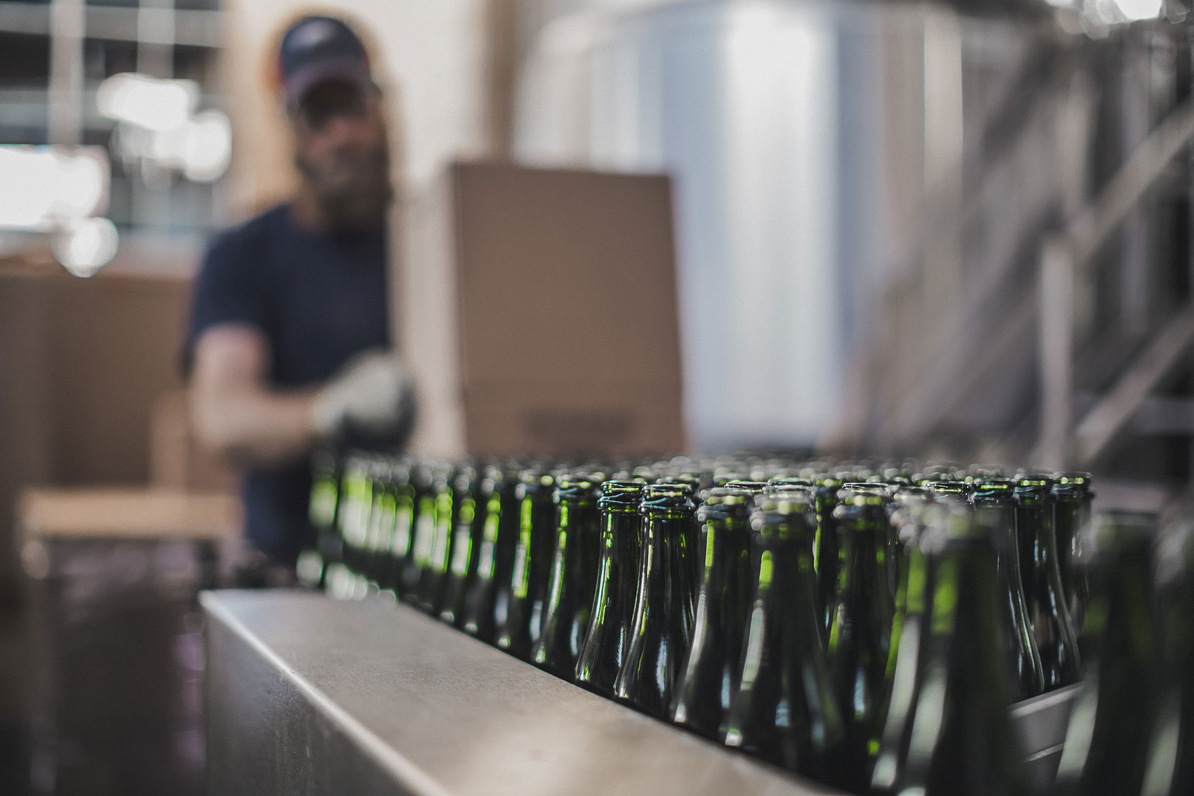Bottles in an assembly line getting ready to be packaged. | Side Project Brewery | John Fedele Photography