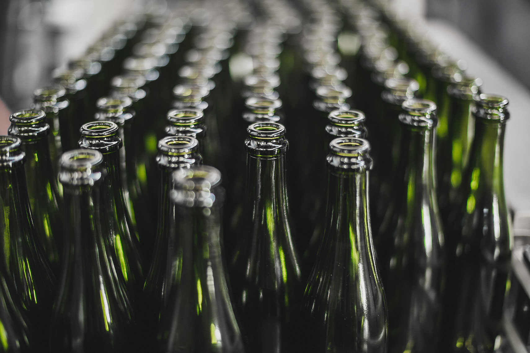 Close up of beer bottles in a warehouse. | Side Project Brewery | John Fedele Photography