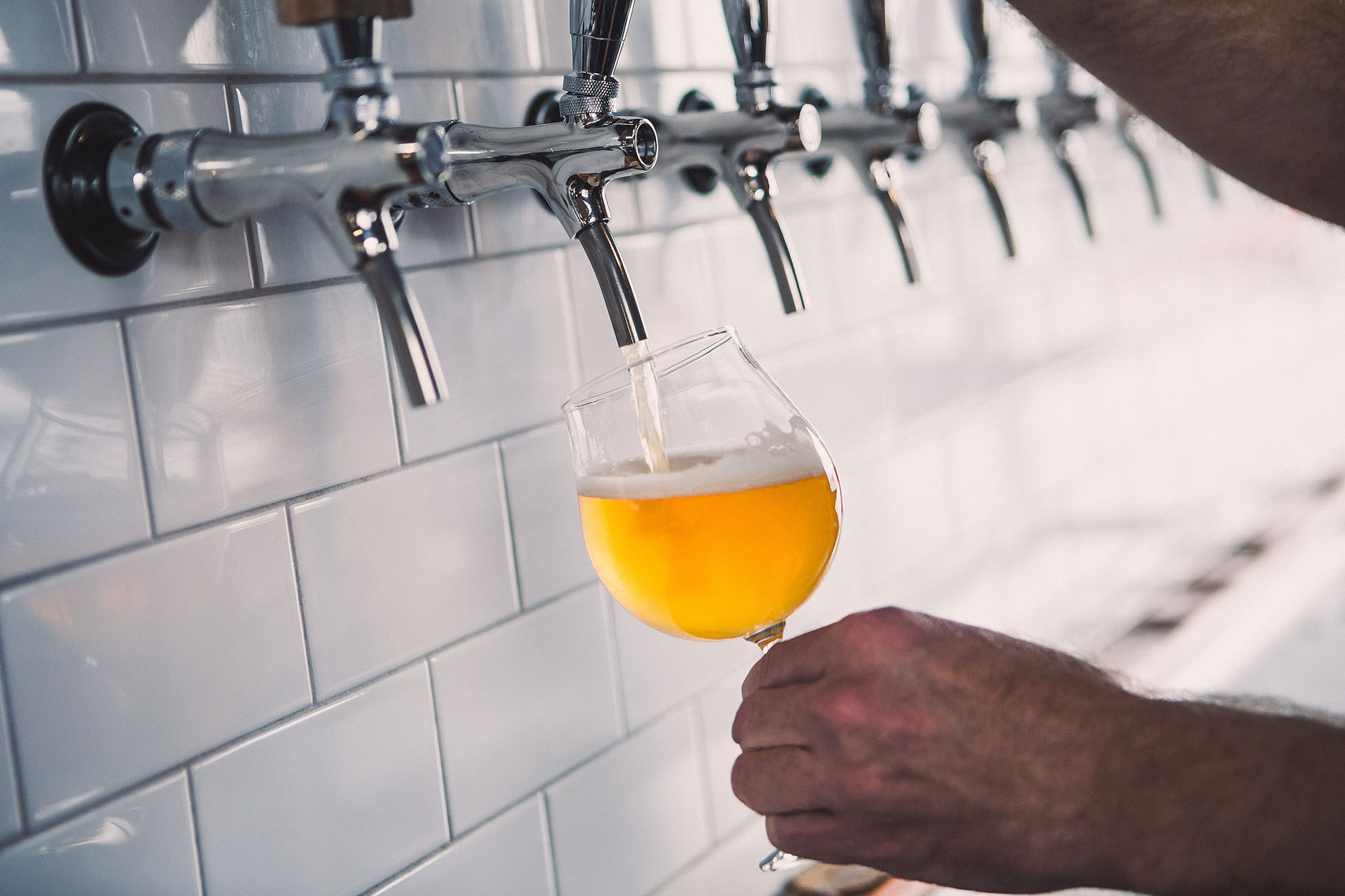 Beer being poured into a glass | Side Project Brewery | John Fedele Photography