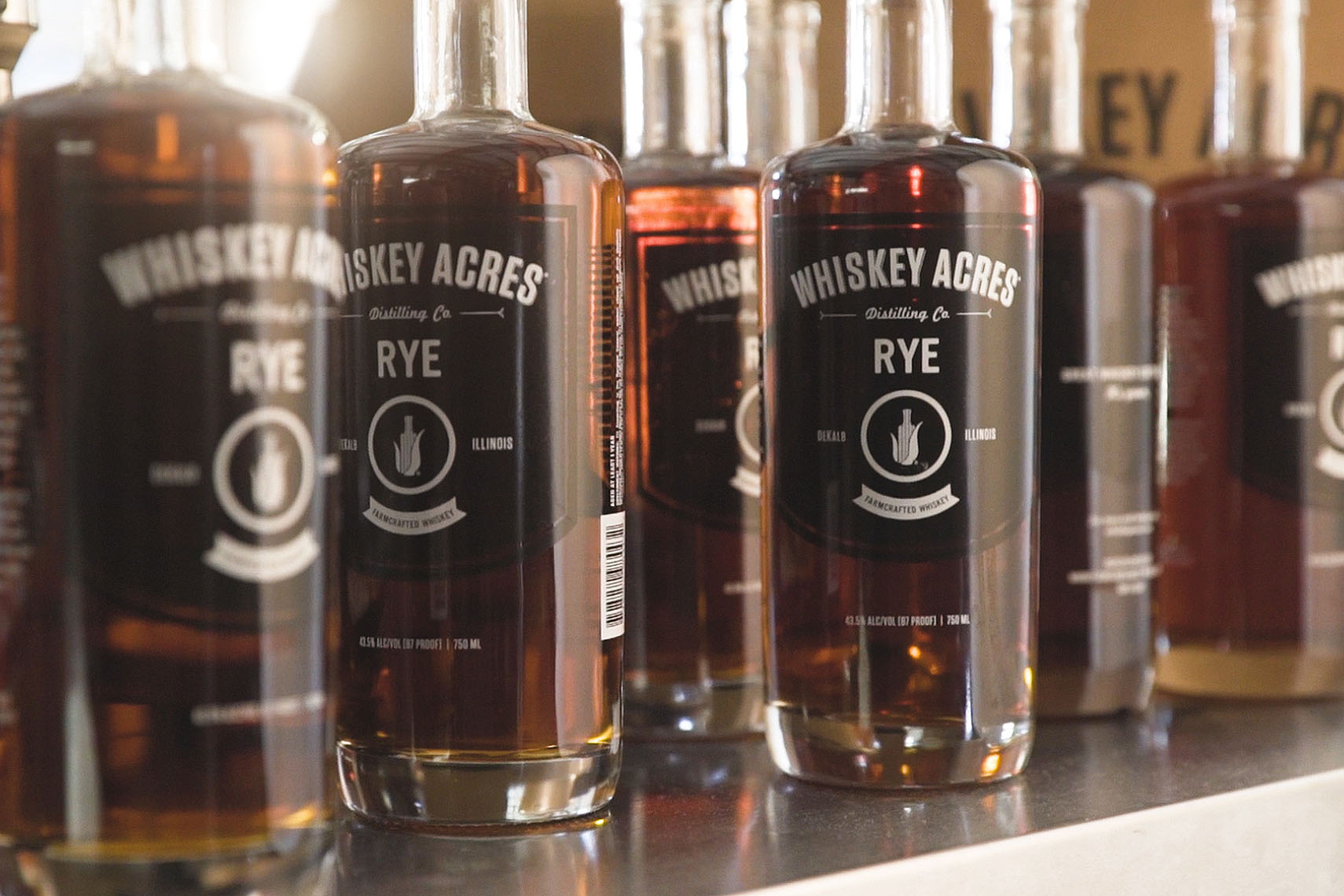 Whiskey Acres bottles | Whiskey Acres Distillery | John Fedele Agricultural Photography