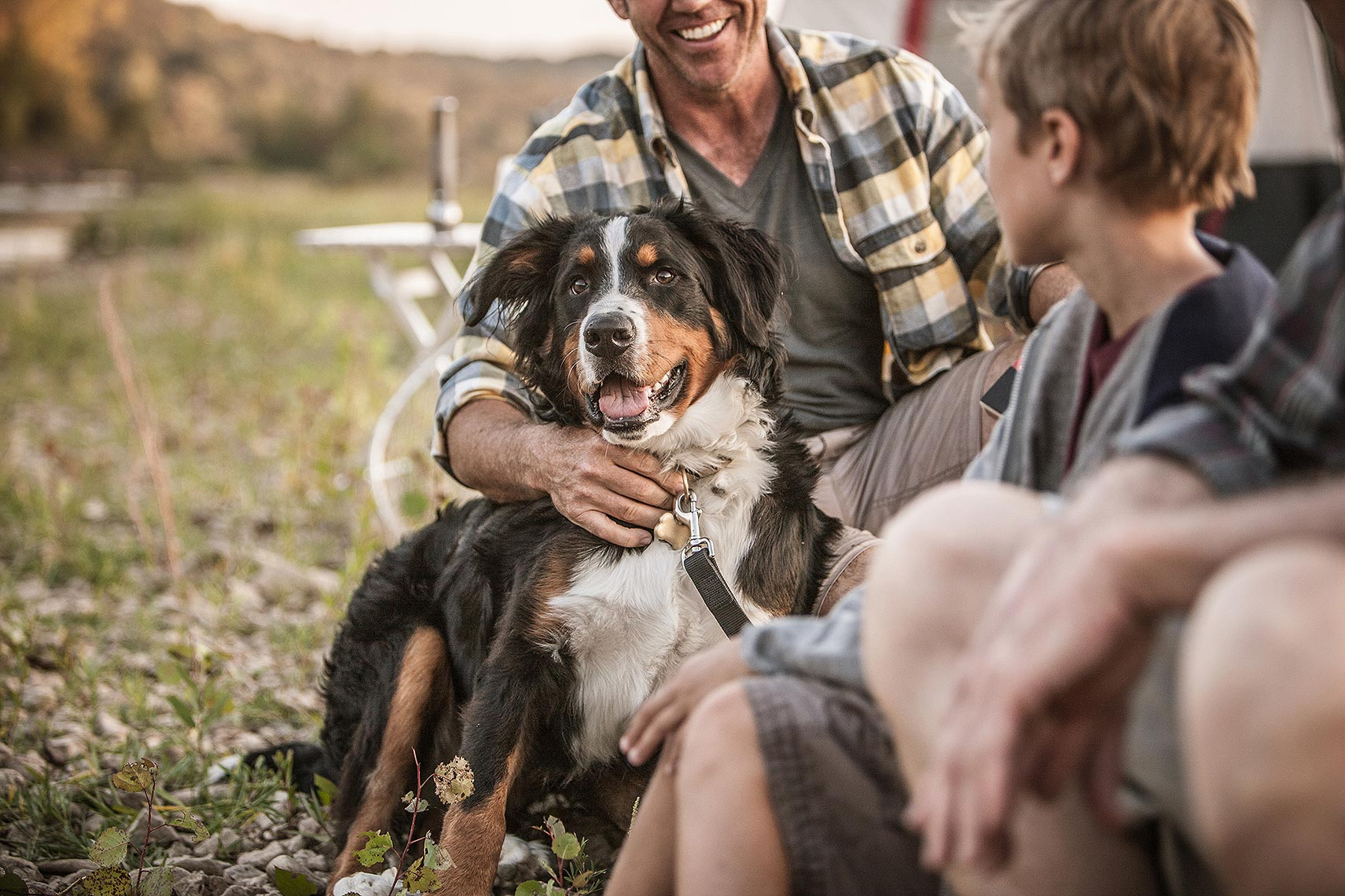 Family at a campsite with their dog.  | John Fedele Lifestyle Photography