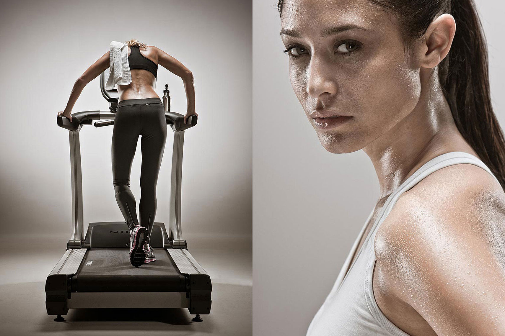 split screen of a woman working out on a treadmill and a close up of a woman